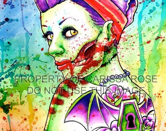 Zombie Girl Undead Pin Up With Coffin and Bat Tattoos - Zombie Doll 4 Signed Fine Art Print by Carissa Rose - 5x7, 8x10, or apprx. 11x14