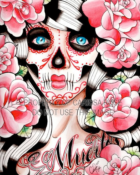 40 PERCENT OFF Fever - Day of the Dead Sugar Skull Girl With Tattoo Roses Art Print By Carissa Rose Tattoo Art Signed Print 5x7, 8x10, or Ap