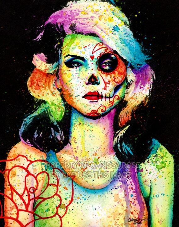 Limited Edition Blondie Day of the Dead Splatter Portrait Art Print by Carissa Rose apprx 11x14