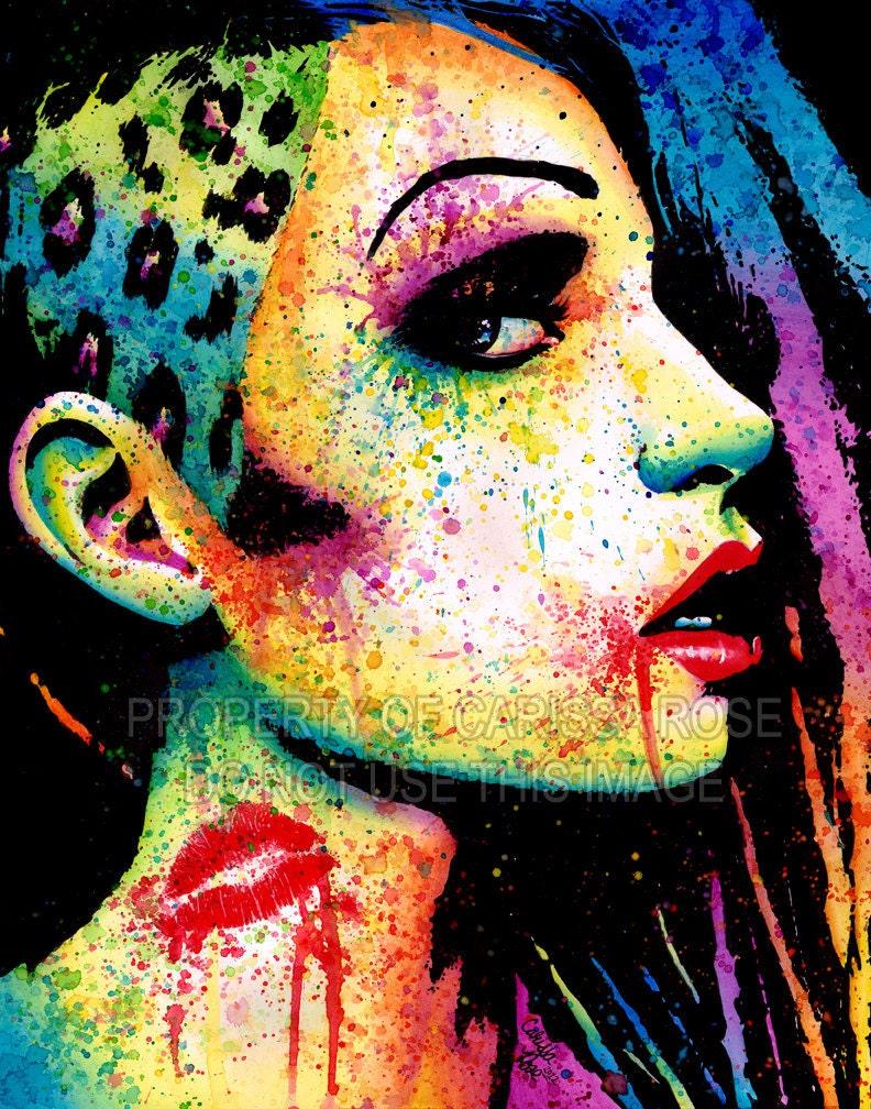 Edgy Punk Rock Fashion Rainbow Pop Art Portrait Signed Print