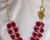 RESERVED FOR SUSANM - Red Crystal Leaf Necklace - Gold by Amy's Adornment