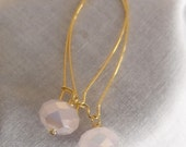 Alabaster Rondelle Earrings - Pink and Gold by Amy's Adornment