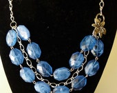 Lily Crystal Necklace - Blue and Silver by Amy's Adornment