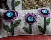 Custom 3 Flowers Felted Pillow from Recycled Sweaters