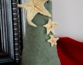 Felted Christmas Tree with Falling Stars, Repurposed Wool