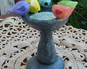 Pastel Birdies Perched on a birdbath