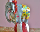Baby Circus elephant cake topper or table decoration. Keepsake.circus party Up to 3 accessories included.