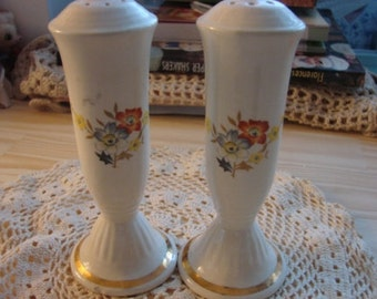 Vintage Ivory China and Floral Salt and Pepper Shakers