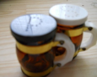 Vintage Glass Mug Salt and Pepper Shakers
