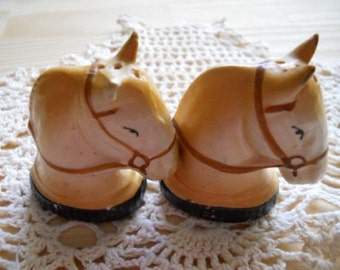 Horse Head Salt and Pepper Shakers - Vintage and Collectible