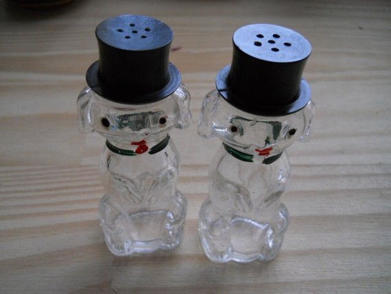 Vintage Glass Dogs with Top Hat Salt and Pepper Shakers