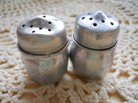 Mini Metal Salt and Pepper Shakers - Vintage and Collectible