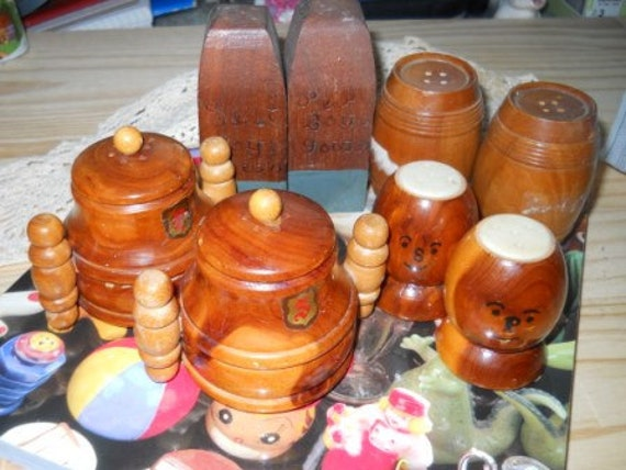 Wooden Salt and Pepper Shaker Lot - Vintage, Collectible, Souvenir