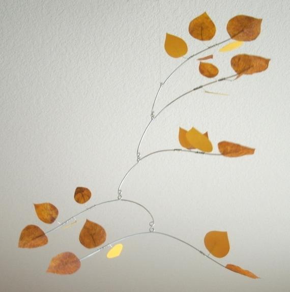 Golden Aspen Leaves Mobile Large