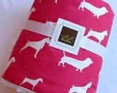 Baby Blanket/ Doggy Print/Pink/Minky