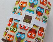 Custom Listing for Catriona/Baby Blanket Bright Owls/Chocolate/Minky