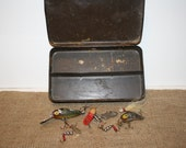 Vintage Metal Tackle Box with Fishing Lures