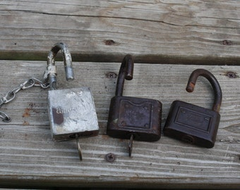 Vintage Padlocks - set of 3 - Yale American FS