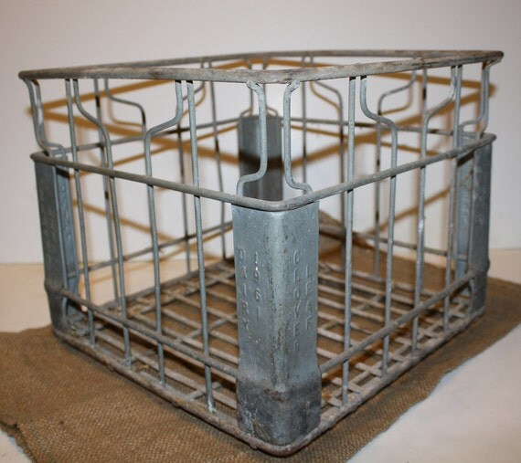 Vintage Metal Milk Bottle Crate