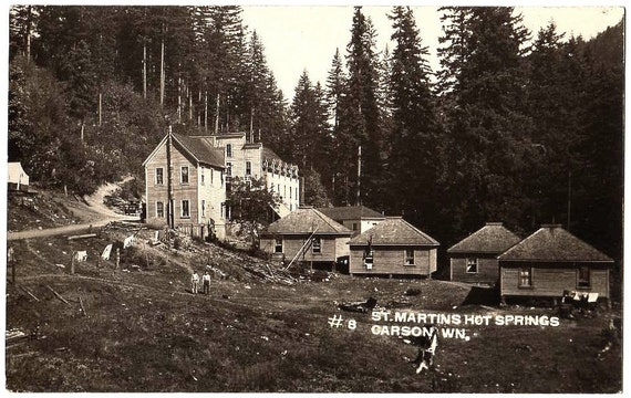 RPPC Town View St Martins Hot Springs Hotel CARSON WASHINGTON 1912 Real Photo