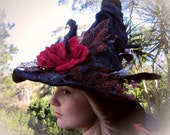Reserved Listing for Flowerhippy - Glamorous Witch hat 'Samantha'