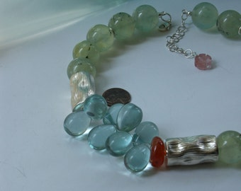 Prehnite Silver Asymmetric Necklace
