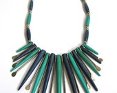 Vintage Exotic Native American Blue green Bone, Silver Bead, Tribal Bib Statement Jewelry Necklace
