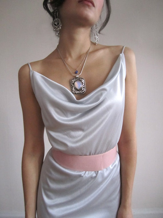 Silver Gray dress 70s Pastel DIsco dress size small