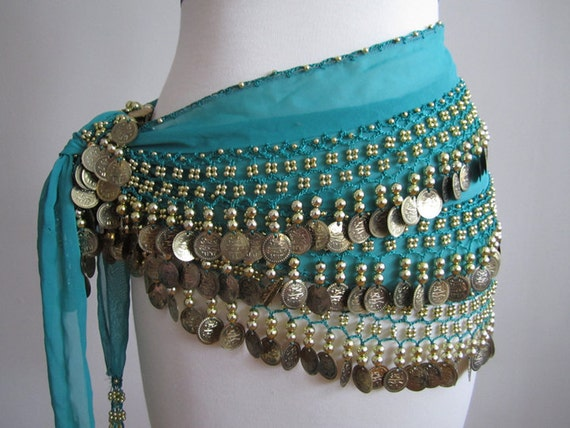TEAL hip scarf for Belly dancing with GOLD coins Vintage size M L