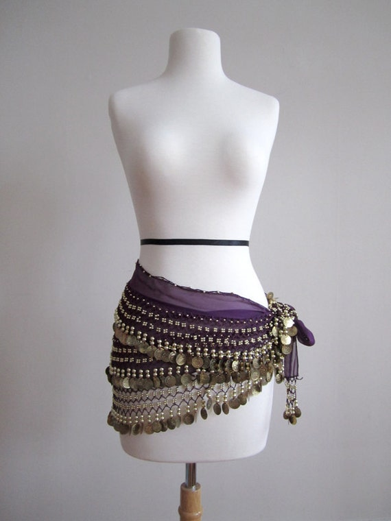 Purple hip scarf for Belly dancing with gold coins Vintage size M L