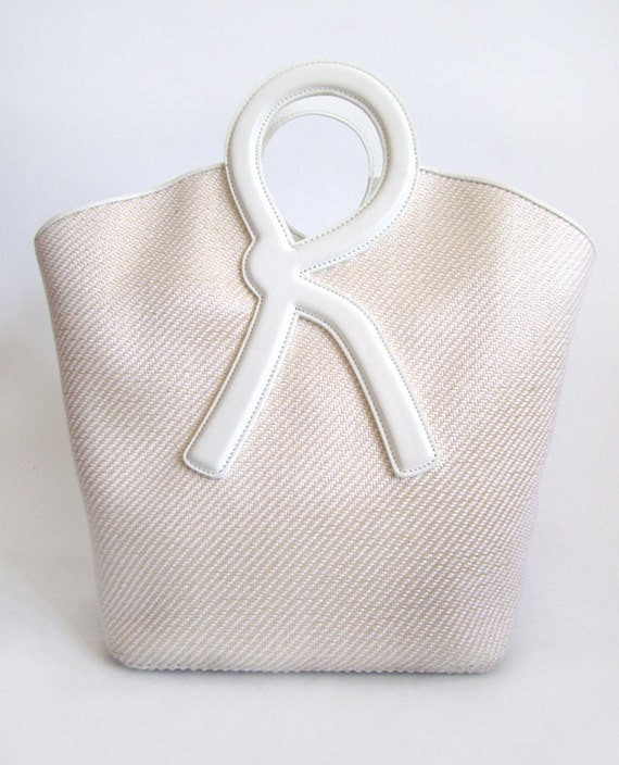 Roberta Di Camerino White leather and basket weave tote Vintage 60's style Summer sz large