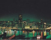 Night Photo // Postcard //  Pittsburgh  Downtown Triangle