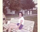 Download Instantly // Woman On Park Bench Vintage // Color Photo 1960s