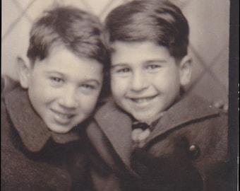 Digital Photo, Two Boys, Photo Booth Photo, Vintage Photo, Black & White Photo, Brothers, Childhood, Found Photo, Printable, Old Photo