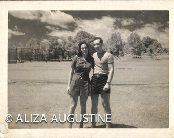 Digital Scan of Vintage Black and White Photo Couple in the Berkshires             1395