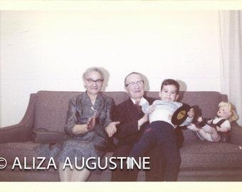 Digital Scan of Antique // Color Photo // Grandparents & Grandson 1960's             0854