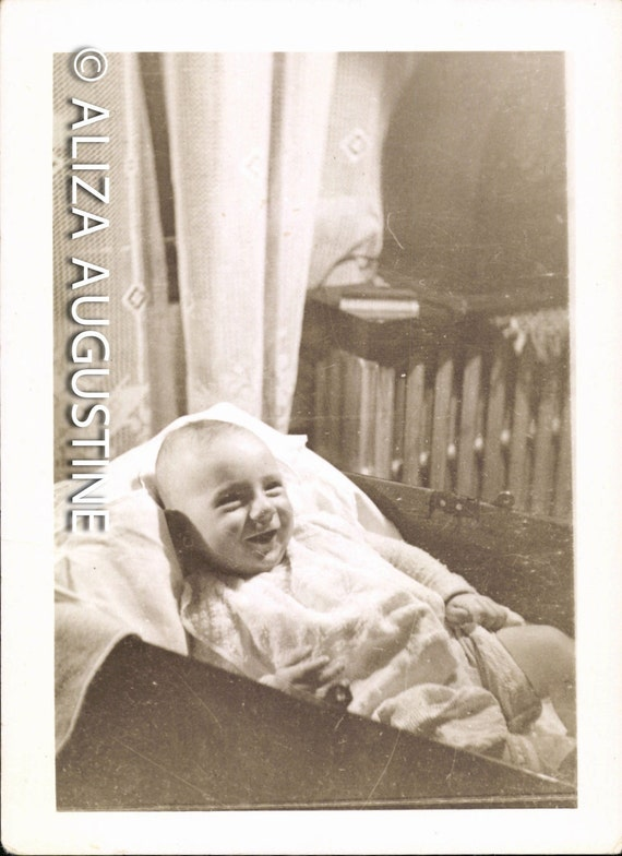Vintage Photo,Smiling Baby In Cradle or Drawer, Black & White Photo, Old Photo, Found Photo, Vernacular Photo , Baby Picture            1152