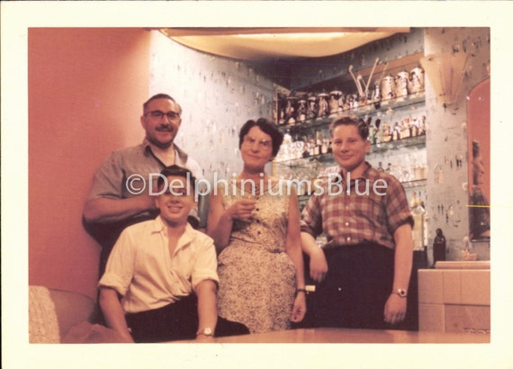 Vintage Photo, Family Having Coctails, Kodacolor Photo, Vernacular Photo, Found Photo, Mad Men Era, Snapshot, Old Photo,    1292