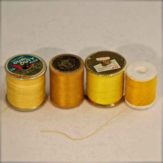 Vintage Spools of Thread Variety of Yellows