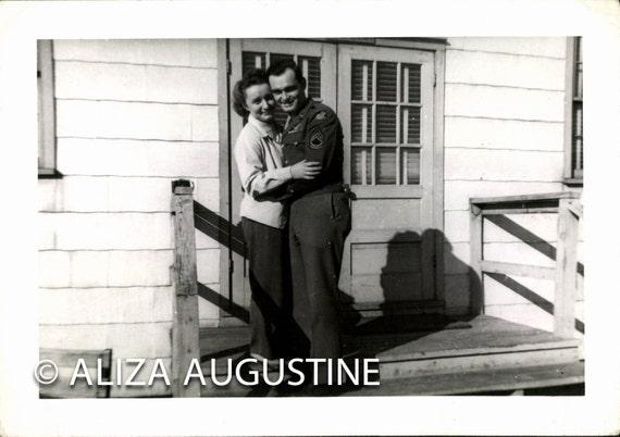 Vintage Photo, WWII Soldier Couple, Black & White Photo, Found Photo, Old photo, World WarII Photo, Vernacular Photo, Romantic Photo  1150