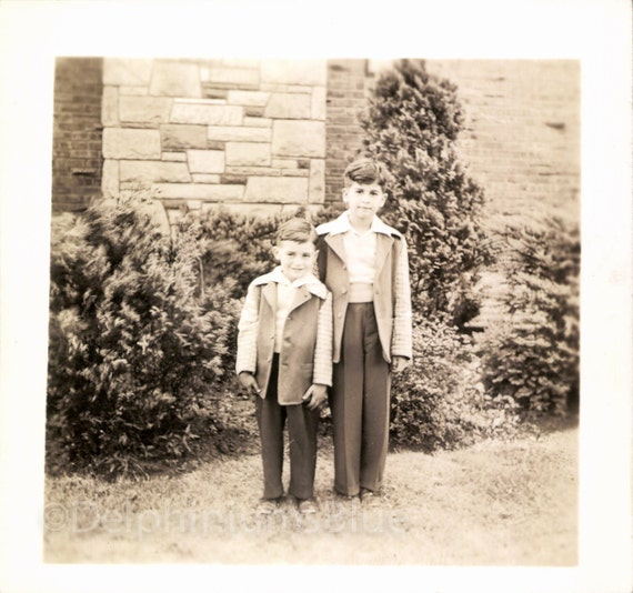 Vintage Photo, Lovely Photo, Boys In Matching Clothing, Black & White Photo, Found Photo, Antique Photo, Old Photo, Vernacular Photo  *1482
