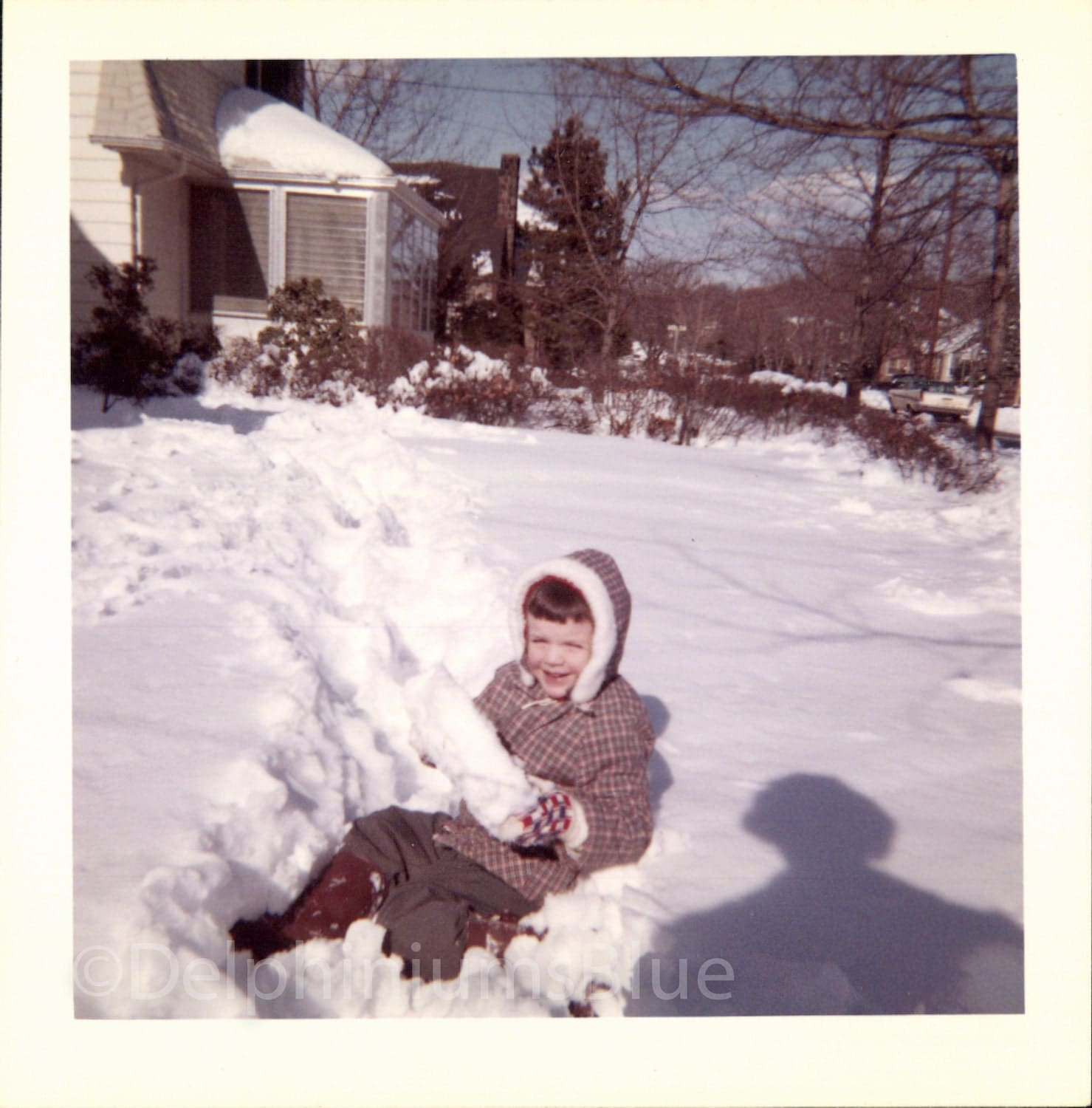 Vintage Photo Child Playing In The Snow Color Photo