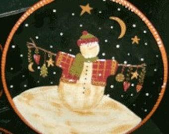 Redware Christmas Snowman Plate