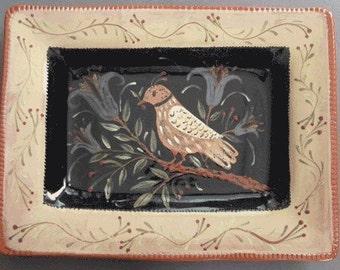 Redware Pottery rectangle bird platter