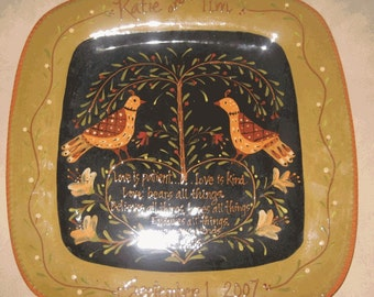 Folk Art Wedding or Anniversary Plate