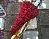 Red Leopard Upcycled Saddle Cover