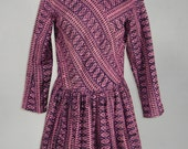Vintage 1970s INDIA Authentic Deadstock Pink and Black Hippie Boho Festival Gypsy Mini Dress