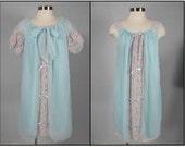 RESERVED Vintage 1960s Baby Blue Nylon Pegnoir Set NWT Avian