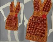 Vintage 1970s INDIA Authentic Deadstock Marigold Hippie Boho Festival Gypsy Sleeveless Mini Dress
