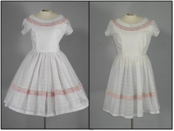 Vintage 1970s White Eyelet Rockabilly Square Dance Swing Dress L/XL